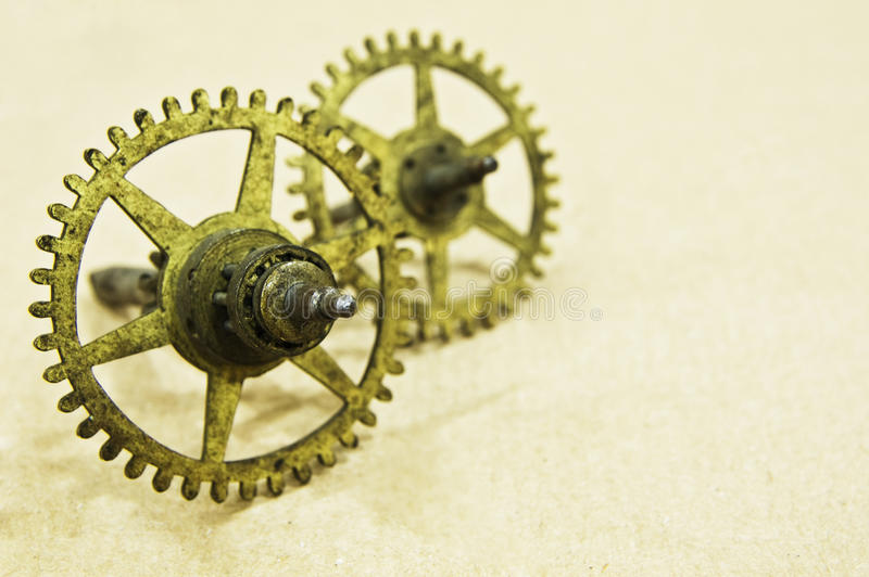 Download Two small bronze cogs stock photo. Image of background - 17808276