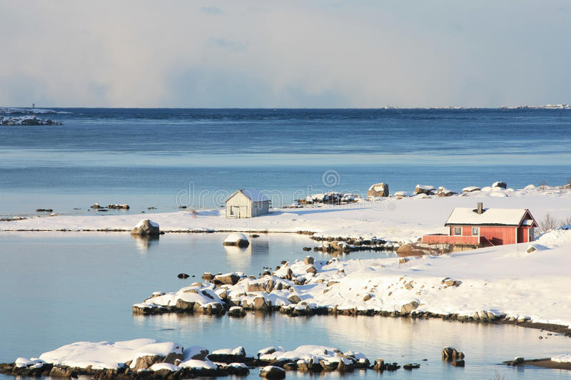 Two small cabins. Fishermen's cabin on Lofoten's islands small village of Sund stock image