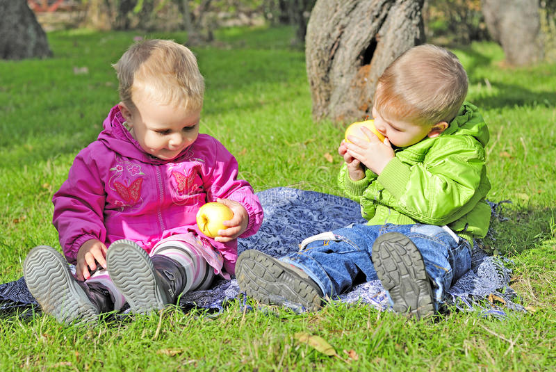 Two small children sit on a green clearing. Eat apples royalty free stock photos