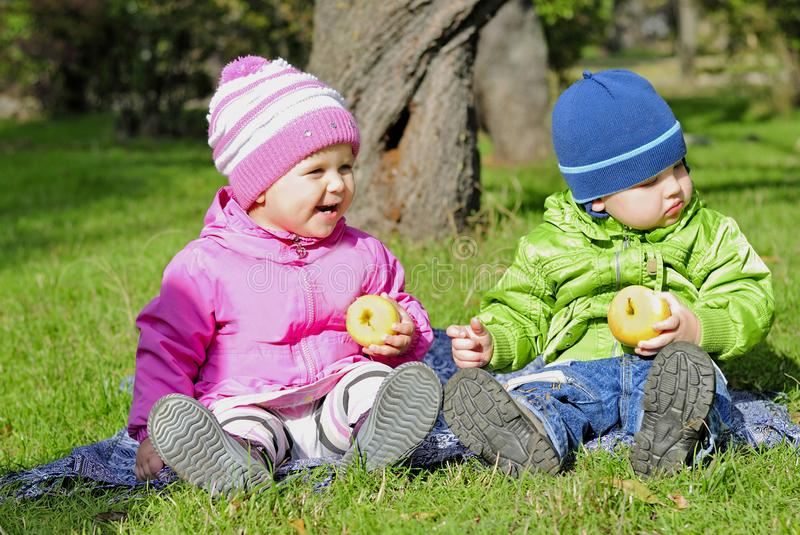 Two small children sit on a green clearing eat apples. The Two small children sit on a green clearing eat apples stock photos