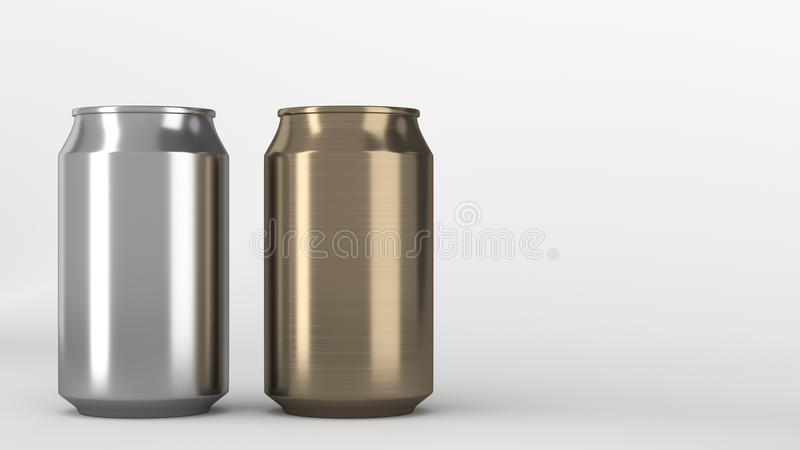 Two small gold and silver aluminum soda cans mockup on white background. Tin package of beer or drink. 3D rendering illustration stock illustration