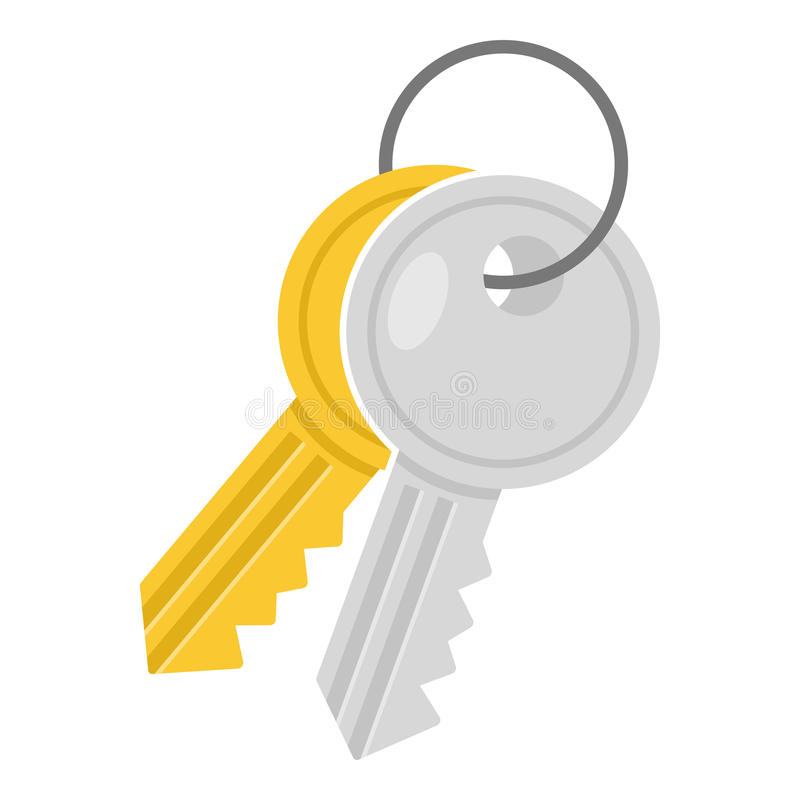 Two Small Keys Flat Icon Isolated on White. Two keys flat icon, isolated on white background. Eps file available royalty free illustration