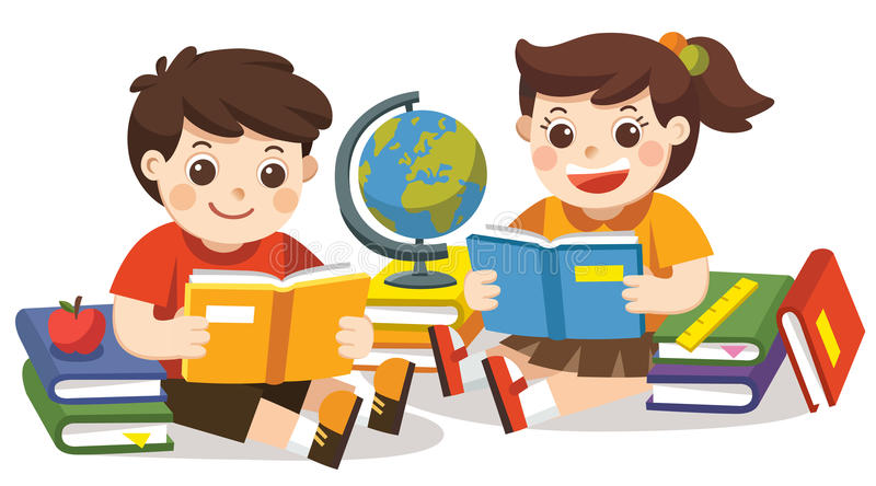 Two small kids holding open books and reading. Isolated vector. stock illustration
