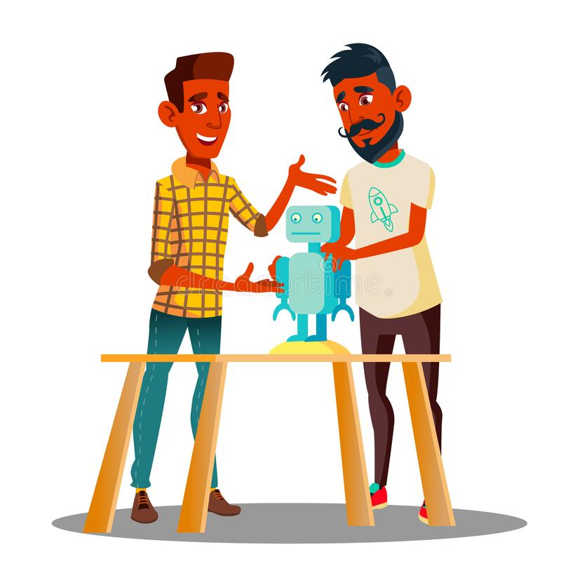 Two Smart Students Constructing A Robot In Classroom Vector. Isolated Illustration stock illustration