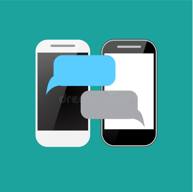 Two smartphones with blank speech bubbles on the screen. Using mobile smart phone for text messaging, flat design concept vector illustration
