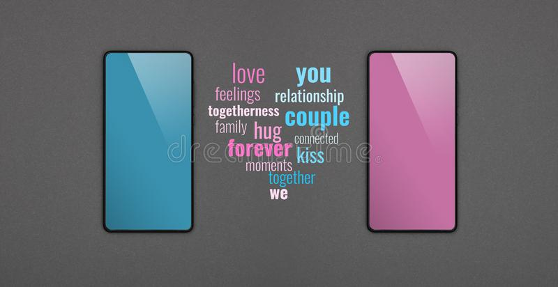 Two smartphones communication messages over grey. Close up two smartphones with blank screens, blue and pink, and communication messages over grey paper stock photo