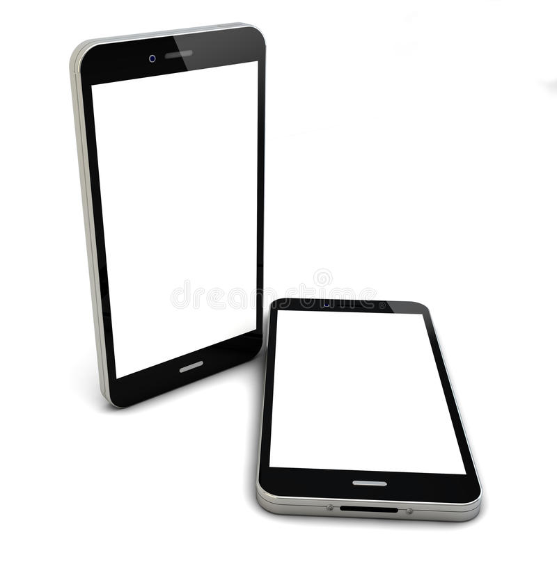 Two smartphones. Render of two smartphones with empty screen stock illustration