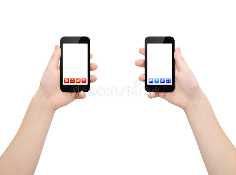 Two smartphones in two hands royalty free stock image