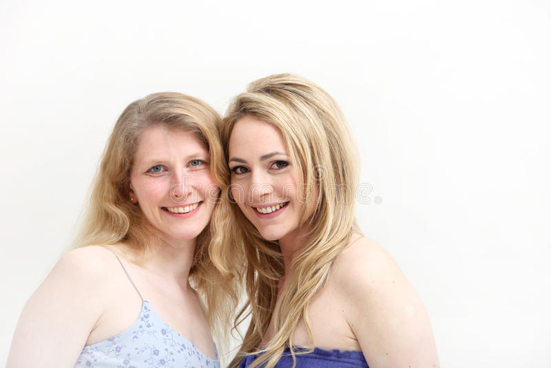 Two Smiling Blonde Women Stock Photo