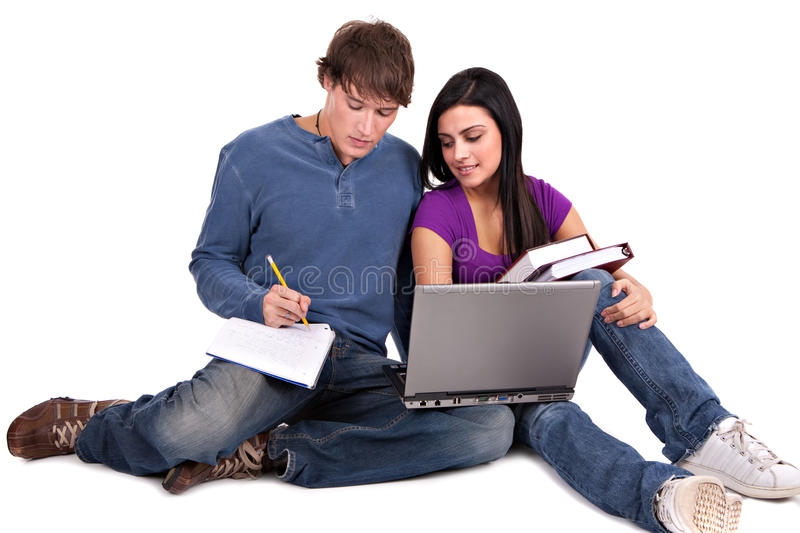 Two Smiling Casual Dressed College Student Working Stock Images