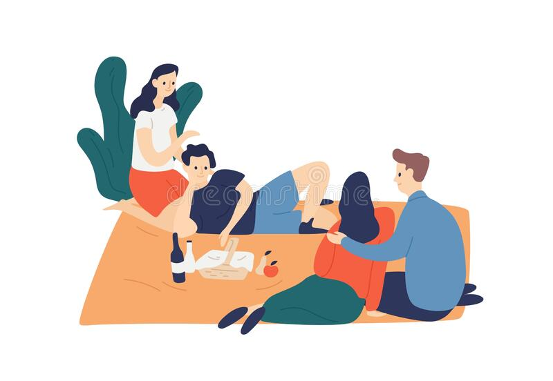 Two smiling couple enjoying outdoor picnic vector flat illustration. Happy young friends relaxing, talking isolated on royalty free illustration