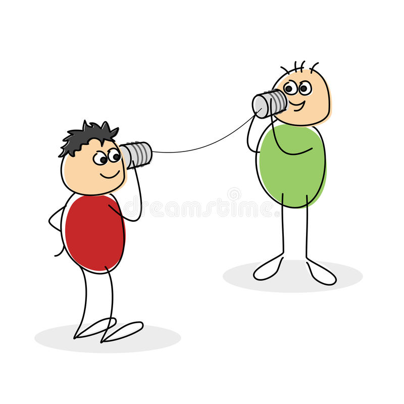 Two smiling doodle figures with green and red tops. Hold can and string telephone between them stock illustration