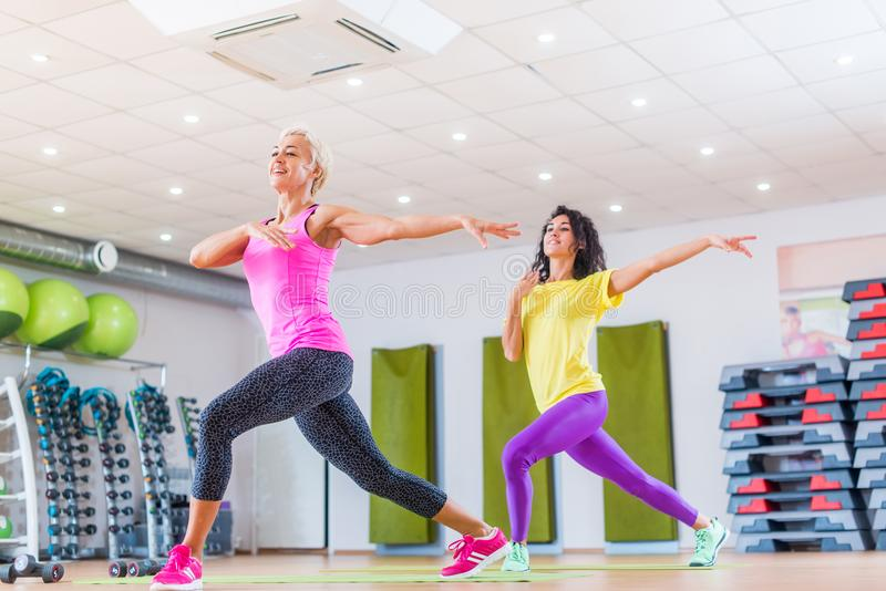 Two smiling female fitness models working out in gym or studio, doing cardio exercise, dancing zumba. stock photography