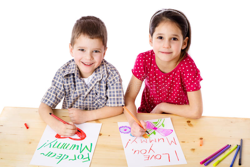 Download Two Smiling Kids Draw For Mum Stock Photo - Image of little, cute: 24409524
