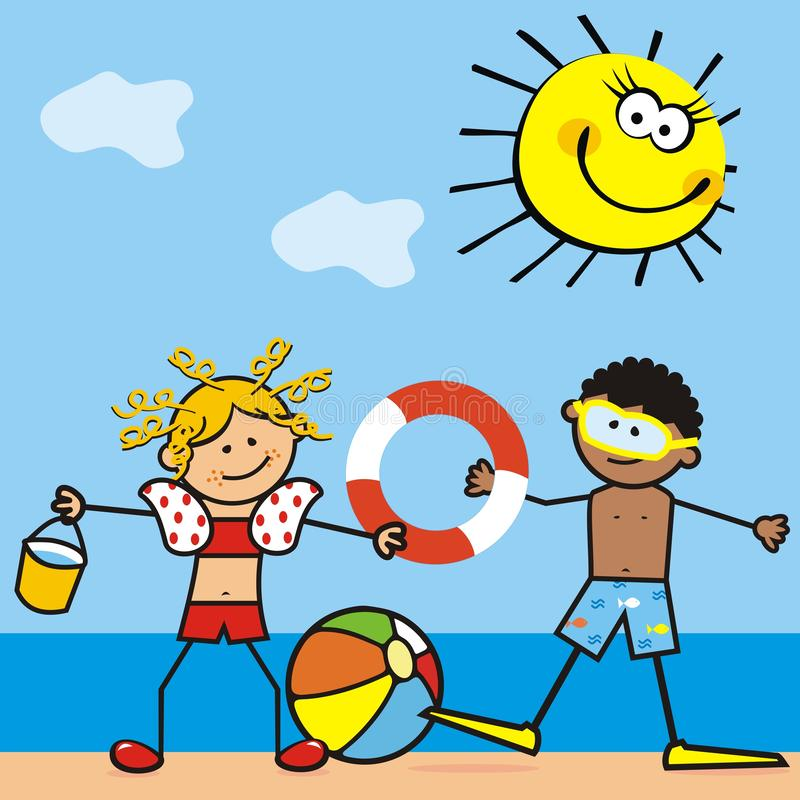 Girl and boy on the beach, vector illustration stock illustration