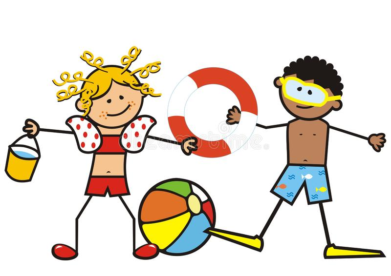 Girl and boy on the swimming pool, vector illustration royalty free illustration
