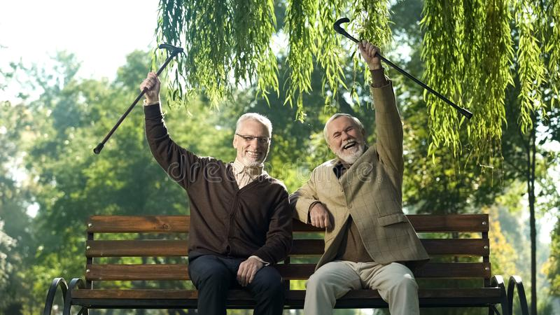Two smiling senior men with canes raised up, happy life in old age, retirement. Stock photo stock photo