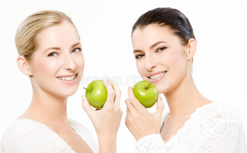 Download Two Smiling Women With Apples Stock Photo - Image: 16093172