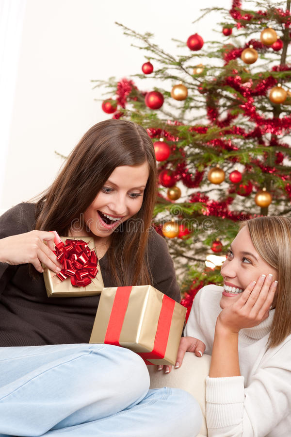 Two smiling women unpacking Christmas present stock photos