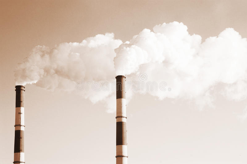 Download Two smoke stacks stock image. Image of ecological, crisis - 12234807