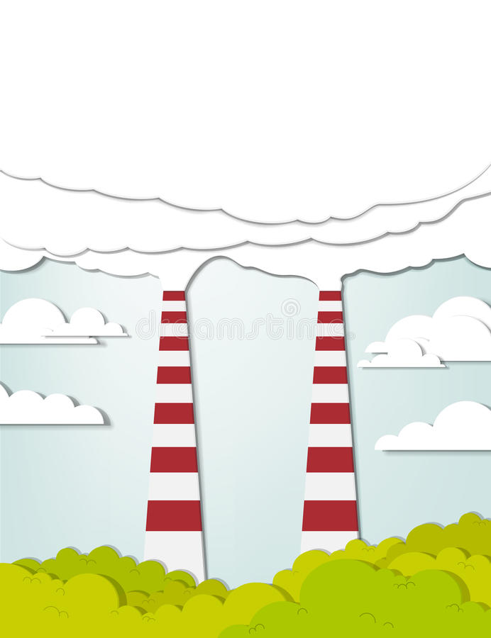 Two smoking chimneys pollution air vector illustration