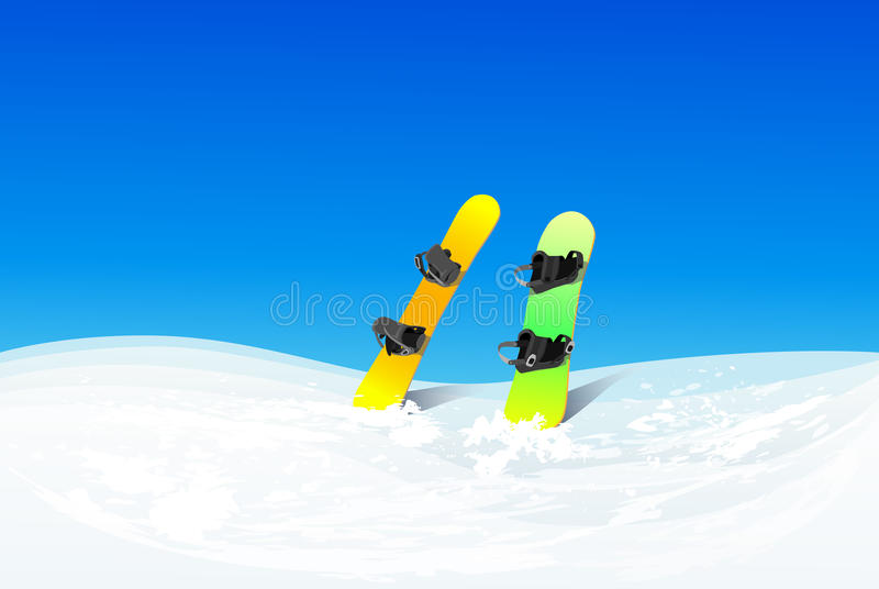 Two snowboard in snow mountain slope vector stock illustration