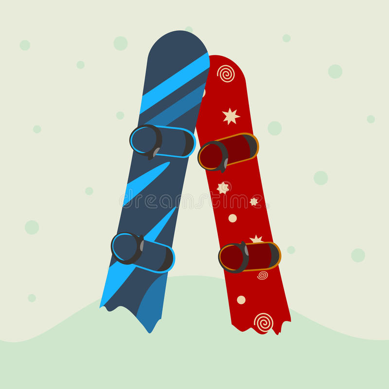 Two snowboard in the snow. vector vector illustration