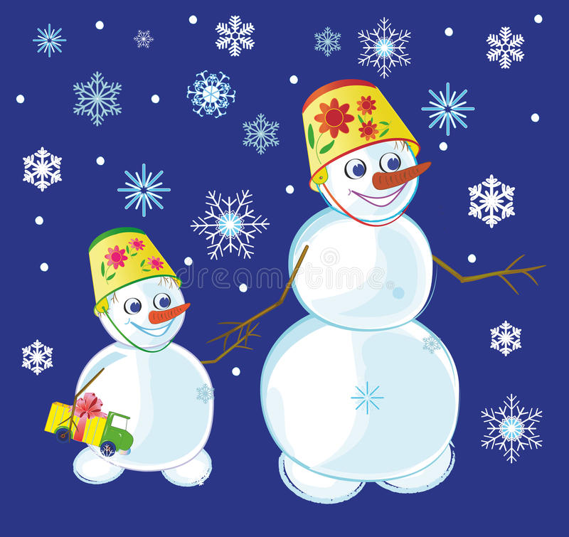 Download Two snowmen stock vector. Image of smiling, gifts, celebrating - 22150031