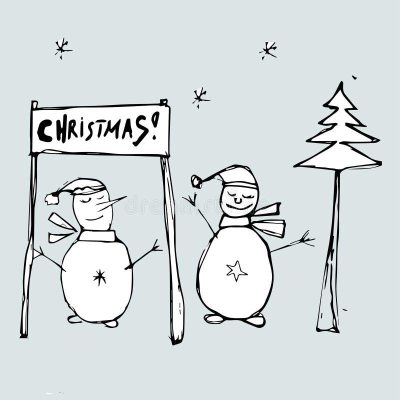 Two snowmen celebrate Christmas. Christmas greeting card,  Illustration. royalty free illustration