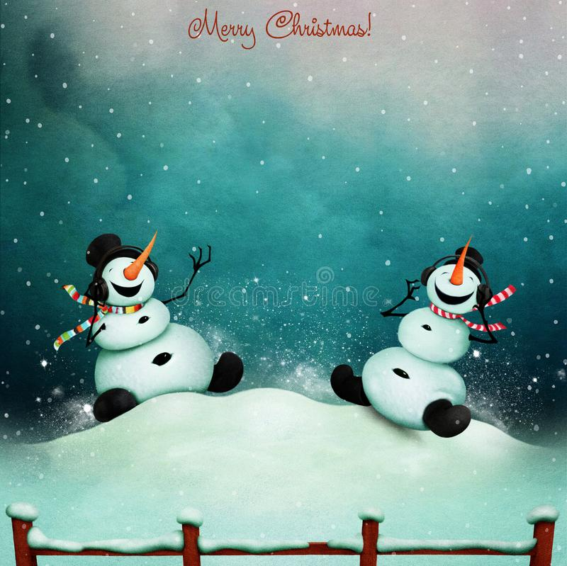 Two snowmen and music vector illustration