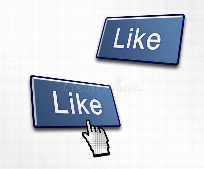 Two Social Media Like Buttons. With a Hand Cursor Clicking vector illustration