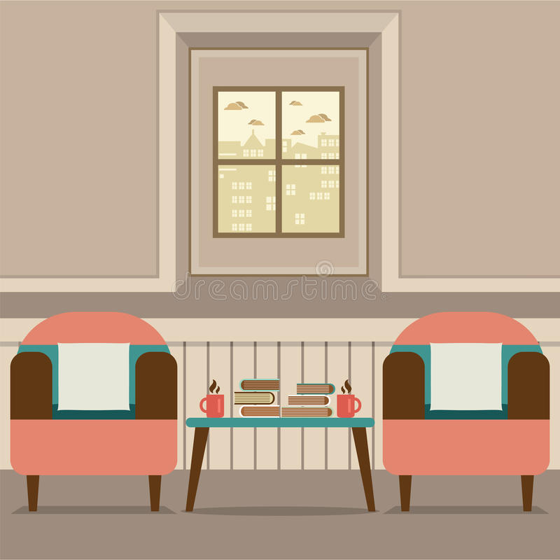 Two Sofas With Hot Coffee Cup And Books On Table royalty free illustration