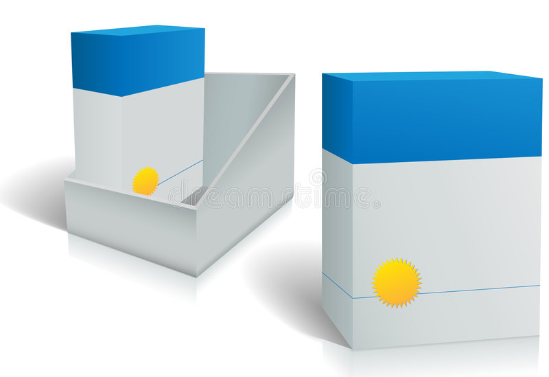 Two software product boxes in open box design