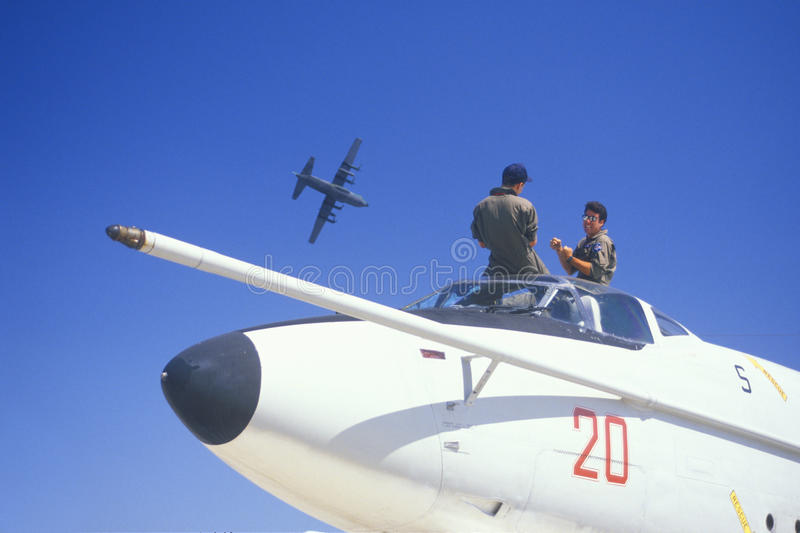 Two Soldiers In Jet Fighter, Van Nuys Air Show, California stock photos