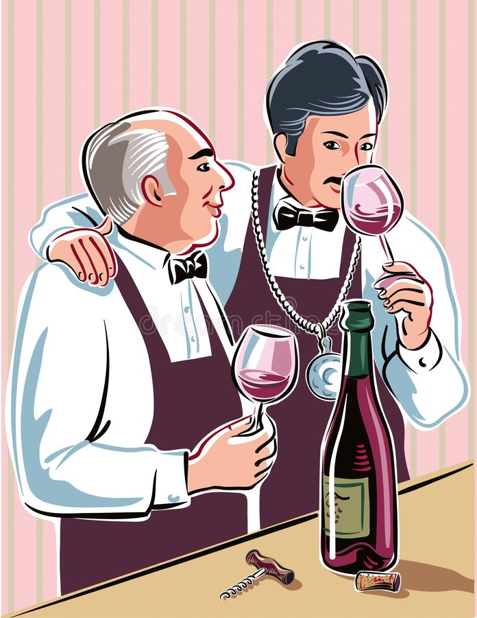 Two sommeliers intent to taste some good wine. Two wine taster,intent to taste some good wine from a bottle just uncorked vector illustration