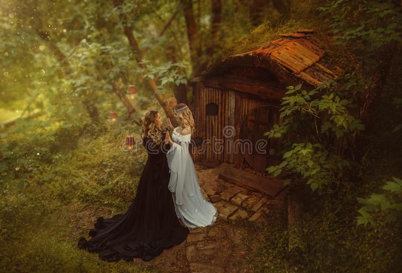 Two sorceresses, dark and bright, met at the old hut of gnomes in a fairy forest. Two girls touch each other, exchanging stock photo