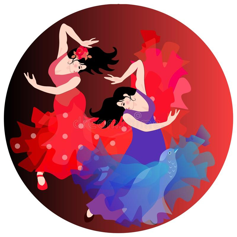 Two Spanish girls in traditional long dresses dance flamenco. Round composition.  stock illustration