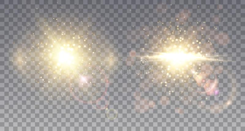 Two sparkling star explosions vector illustration
