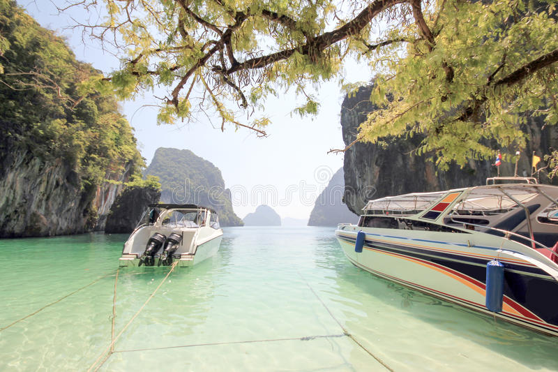 Two Speed Boat At Paradise Islands Stock Photo