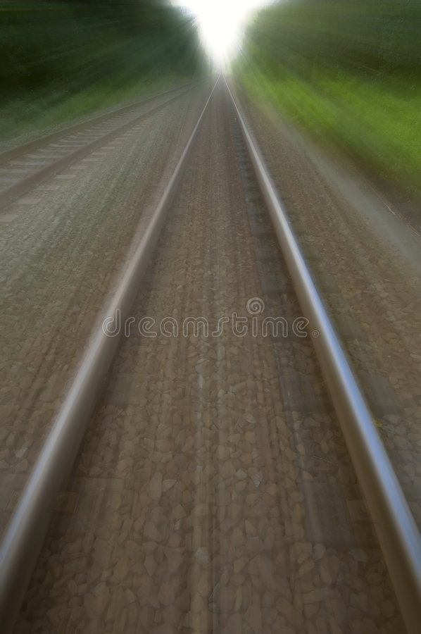 Two speedy train tracks stock images