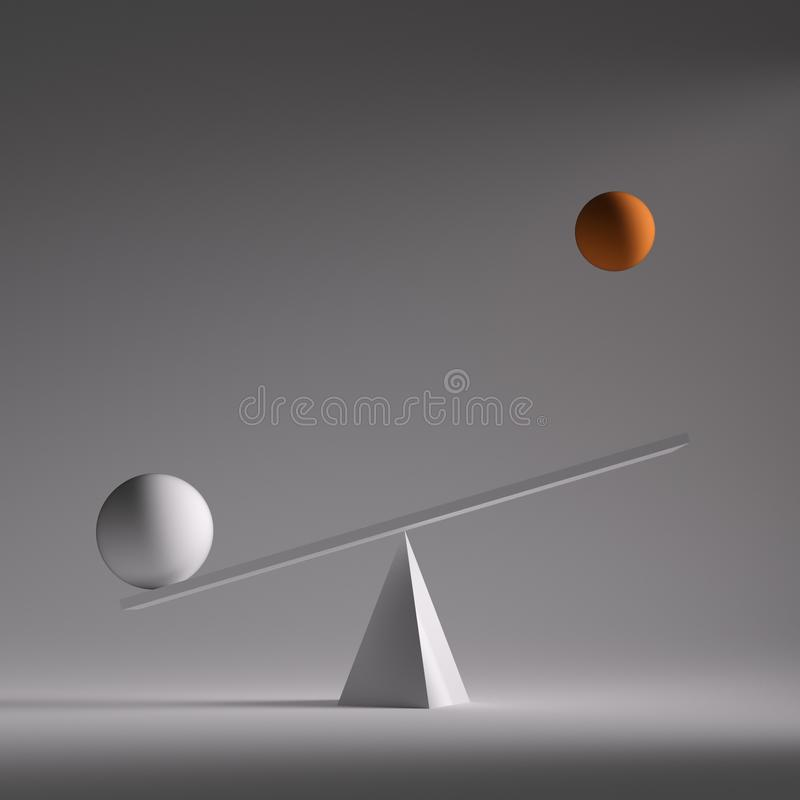 Two spheres in equilibrium vector illustration