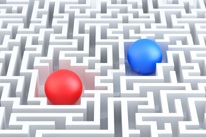 Two Spheres in a maze. Conceptual illustration. vector illustration