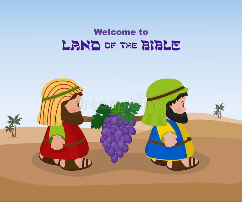 Two spies of israel carrying grapes royalty free illustration
