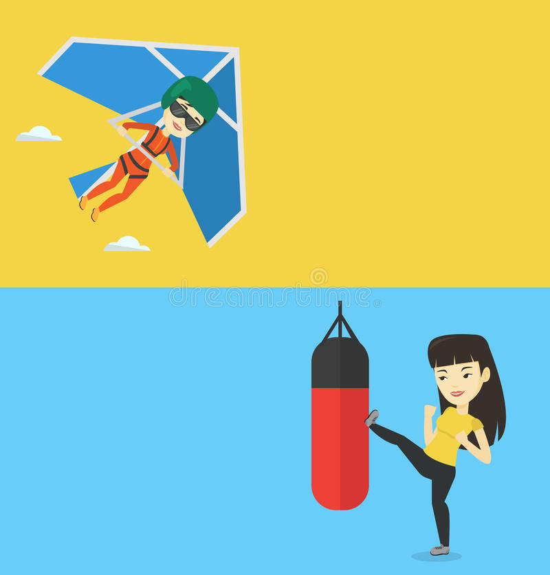 Two sport banners with space for text. Vector flat design. Horizontal layout. Asian boxer exercising with boxing bag. Kickbox fighter hitting heavy bag during royalty free illustration