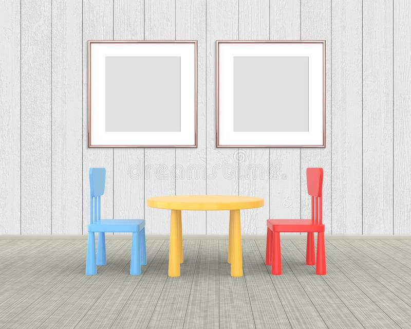 Two Square Frame mockup of rose gold in the nursery. The minimalist interior of a children\'s colored table and chairs on a white royalty free illustration