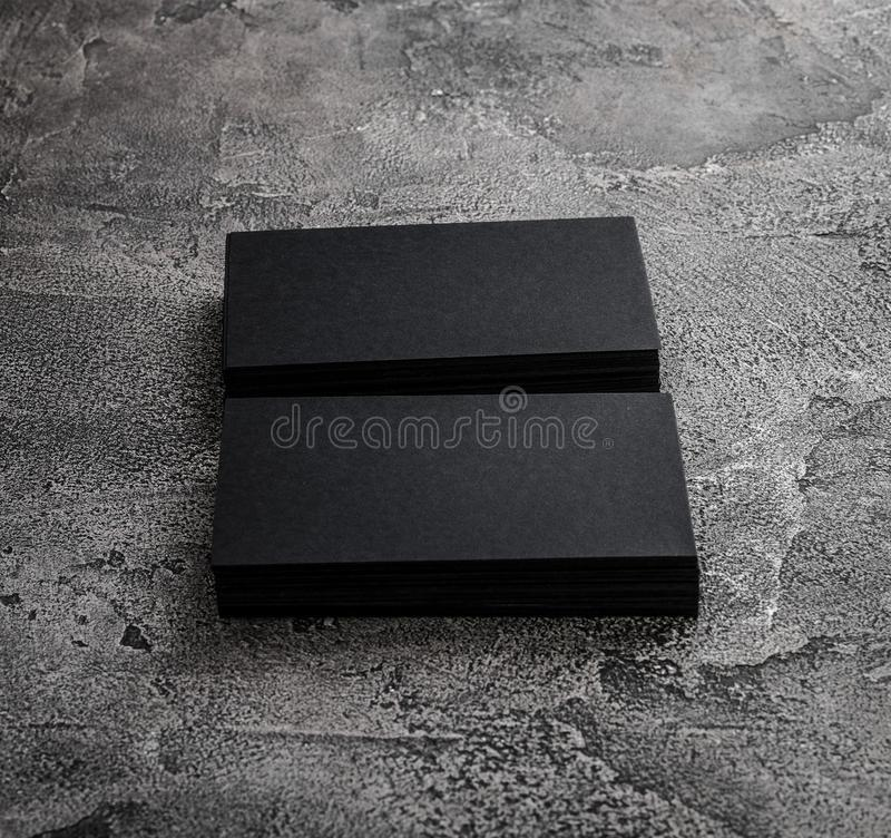 Stacks Of Black Blank Business Cards On Textured Background Stock ...