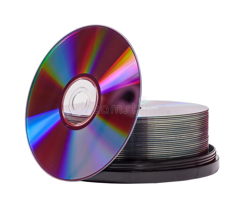 Compact Disks stack. Two Stacks of empty dvd-r disks isolated on white background stock images