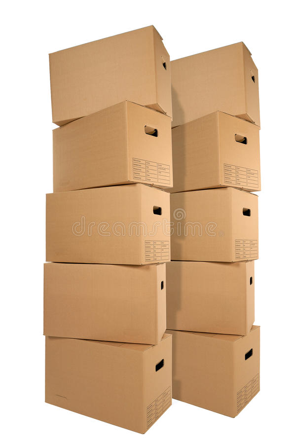 Two stacks of moving boxes. Isolated on white backround royalty free stock photos