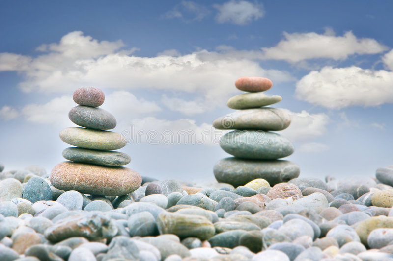 Download Two Stacks Of Stones Over Sky Background Stock Image - Image: 6332527