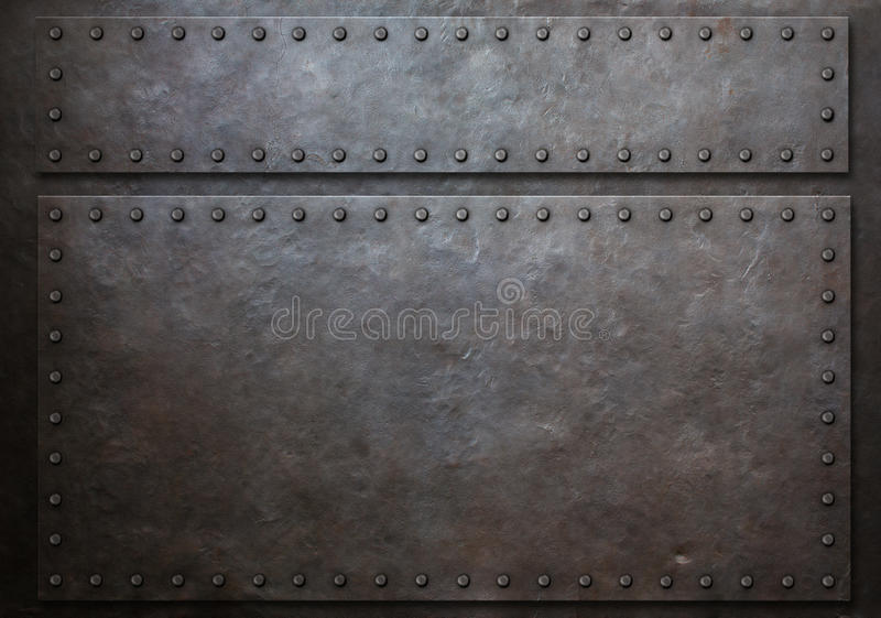 Two stained steel plates with rivets metal background 3d illustration. Two stained steel metal plates with rivets over grunge background vector illustration